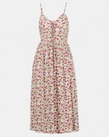 New Look Floral Lace Up Front Midi Dress White Photo