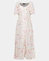 New Look Floral Button Up Midi Milkmaid Dress White Photo