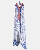Allegoria Blue And White Print Halter Neck Maxi Dress Photo