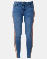 Legit Rose Gold Side Stripe Skinny Jeans Stonewash Photo