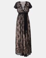 City Goddess London Scalloped Hem Lace Maxi Dress Black Photo