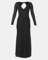 City Goddess London Deep V Lace Maxi with Keyhole Back Black Photo