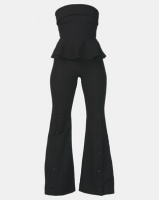 City Goddess London Strapless Peplum Bell Bottom Jumpsuit Black Photo