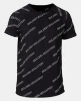Golden Equation Curved Hem All Over Logo Print T-shirt Black Photo