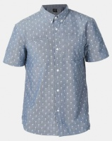 D-Struct Short Sleeved Origami Palm Printed Chamray Shirt Blue Photo