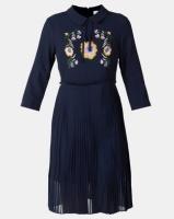 Liquorish 3/4 Sleeves and Collar Neck Pleated Dress Navy Photo
