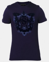 Beaver Canoe Swagga Short Sleeve Heraldic Crest Flock T-Shirt Blue Photo