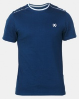 Beaver Canoe Swagga Tipped Crew Neck T-Shirt with Embroidery Detail Navy Photo