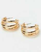Lily Rose Lily & Rose 2 Row Half Hoop Earrings Gold-tone Photo