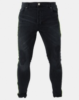 Brave Soul Charcoal Distressed Denim Jeans With Neon Cord Black Photo