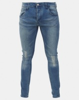 Brave Soul Skinny Jeans with Enzyme Wash Mid Blue Photo