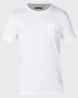 Brave Soul Crew Neck Pocket T-Shirt White Photo
