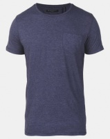 Brave Soul Crew Neck Pocket T-Shirt Denim Blue Marl Photo