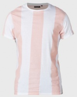 Brave Soul Wide Vertical Stripe T-Shirt Pink/White Photo