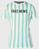 Brave Soul Fake News Stripe T-Shirt Green Photo
