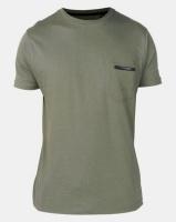 Brave Soul Crew Neck Zip Pocket T-Shirt Mushroom Sage Green Photo