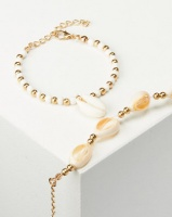 Jewels and Lace 2 Pack Cowrie Shell Bracelet Gold Photo