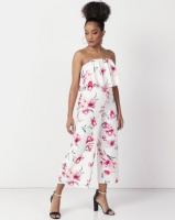 New Look Floral Frill Bandeau Jumpsuit White Photo