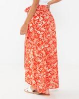 New Look Leaf Print Maxi Wrap Skirt Orange Photo