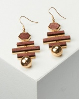 All Heart Abstract Wood Drop Multi Earrings Brown Photo