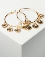 All Heart Coin Hoop Earrings Gold Photo