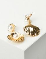 Black Lemon Shell Drop Earrings Gold-tone Photo