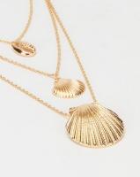 Black Lemon Layered Shell Necklace Gold Photo