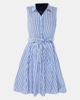 QUIZ Stripe Dip Hem Dress Blue And White Photo