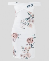 QUIZ Floral Print Bardot Midi Dress Cream Photo