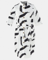 London Hub Fashion Abstract Print Midi Shirt Dress With Mock Horn Buttons And Pockets Black/White Photo