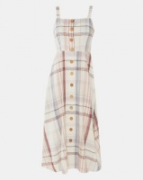 London Hub Fashion Check Strappy Midaxi Button Front Dress Beige Photo