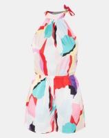London Hub Fashion Geometric Print Tie Neck Playsuit Multi Photo