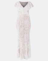 City Goddess London Lace Wedding Maxi Dress with Frilled V Neckline White Photo