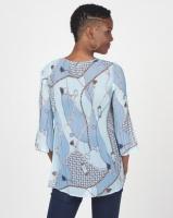 Queenspark Pleated Chain Print Woven Blouse Blue Photo