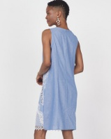 Queenspark Embroidered Sleeveless Woven Dress Blue Photo