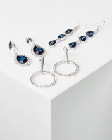 Queenspark 3Pk Glamour Drop Earrings Silver Photo