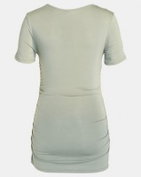 Cherry Melon Round Neck Top With Side Detail Short Sleeve Fatigue Green Photo