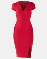 Sissy Boy Girl Boss Ruched Midi Dress Deep Red Photo