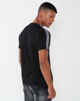 Brave Soul Crew Neck T-Shirt With Check Tape Detail Black Photo