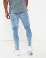 Brave Soul Skinny Fit Denim Jean With Knee Distressing Light Blue Photo