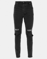 Brave Soul Skinny Fit Denim Jean With Rip And Embroidery Charcoal Wash Photo