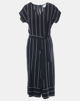 Contempo Stripe Cropped Jumpsuit Black/White Photo