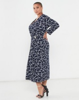 Queenspark Plus Collection Cross Over Printed Knit Dress Navy Photo