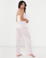 Lila Rose Faux Silk Woven Cami Long Pant PJ Set Blush Photo