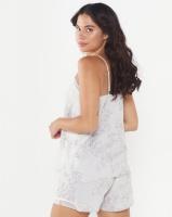 Lila Rose Print Woven Cami Short Set Grey Photo
