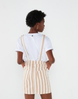 All About Eve Ridge Pinafore Dress Tan and White Stripe Photo