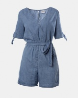 Contempo Generation Denim Playsuit With Tie Sleeves Blue Photo