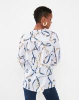 Queenspark Chain Print Voile Woven Shirt Multi Photo