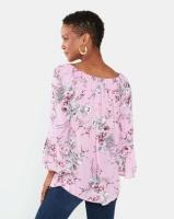 Queenspark Nicola Tie Woven 3/4 Sleeve Blouse Pink Photo