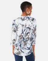 Queenspark Floral Printed 3/4 Sleeve Ghost Woven Shirt White Photo